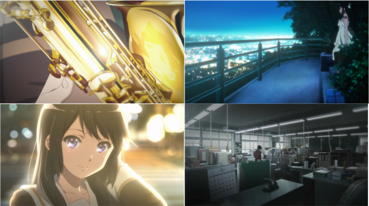Clockwise from top left: reflections on instruments, dreamy city lights from atop a hill, the conductor alone, lights melting into each other as Reina smiles