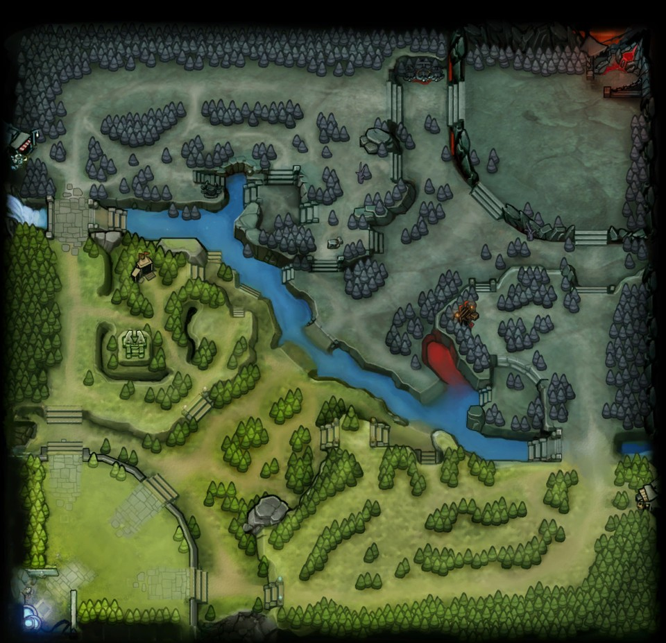 The custom map of DotA 2, containing three lanes connecting the two Dire (top-right) and Radiant (bottom-left) Ancients.
