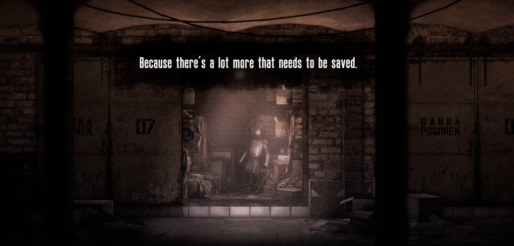 "A screenshot of the game ending, where the bank vault is filled with artifacts. It reads: ""Because there's a lot more that needs to be saved."""